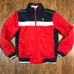 US polo assn full zip hooded jacket USA red small